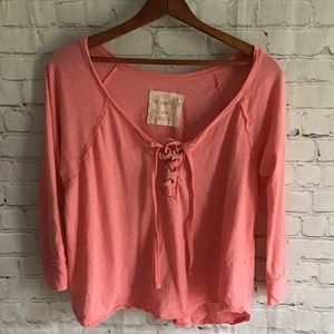 We the Free peach lace up crop 3/4 sleeve top